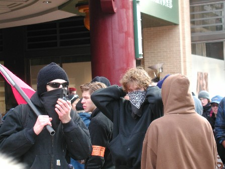 Anarchists - Note the Red & Black Banner