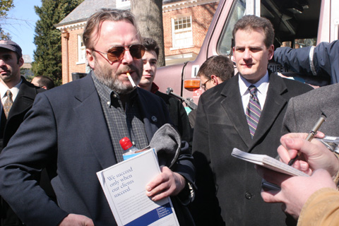 Photo: Christopher Hitchens and James Joyner at DC Denmark Rally, 24 FEB 06