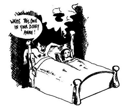 Photo: AEL cartoon Hitler and Anne Frank in bed 'Write this in your diary Anne Frank