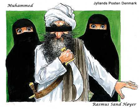 Muhammad with a short sabre and a black bar censoring his eyes. He is flanked by two women in niqaabs burkas, having only their eyes visible.