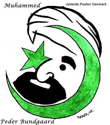 Danish Muslim Cartoons The face of Muhammad as a part of the Islamic star and crescent symbol. His right eye the star, the crescent surrounds his beard and face.