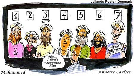 Danish Muslim Cartoons A police line-up of seven people, with the witness saying: 'Hm... jeg kan ikke lige genkende ham' ('Hm... I can't really recognise him'). Not all people in the line-up are immediately identifiable. They are: (1) A generic Hippie, (2) politician Pia Kjærsgaard, (3) possibly Jesus, (4) possibly Buddha, (5) possibly Muhammad, (6) a generic Indian Guru, and (7) journalist Kåre Bluitgen, carrying a sign saying: 'Kåres PR, ring og få et tilbud' ('Kåre's public relations, call and get an offer')