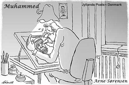 Danish Muslim Cartoons Western Cartoonist drawing Muhammad in darkness, cowering over paper