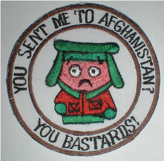 A patch featuring Kyle from South Park is showing up on helmet bags and off duty clothing in Afghanistan. It contains a drawing of South Park's Kyle with the inscription You Sent Me to Afghanistan You Bastards