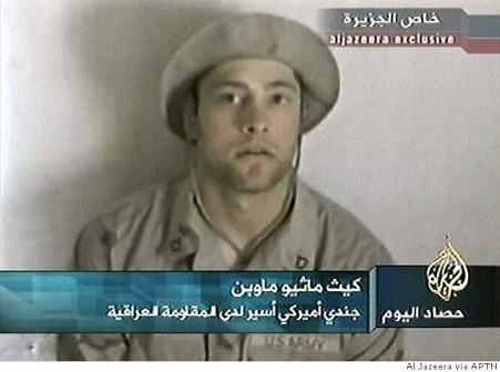 Kidnapped American soldier Pfc. Keith M. Maupin, of Batavia, Ohio is seen in this undated file image made from video broadcast by Arab television station Al-Jazeera on April 16, 2004. Al-Jazeera television said Tuesday, June 29, 2004, that Iraqi militants have killed Maupin, an American soldier they have held hostage since early April. Al Jazeera via APTN