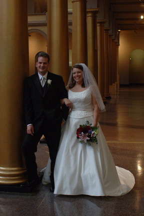 Photo James Joyner and Kimberly Webb at the National Building Museum in Washington, D.C. on Saturday, October 8, 2005 on the afternoon of their wedding.