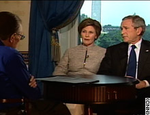 Photo President Bush and First Lady Laura Bush on Larry King Live