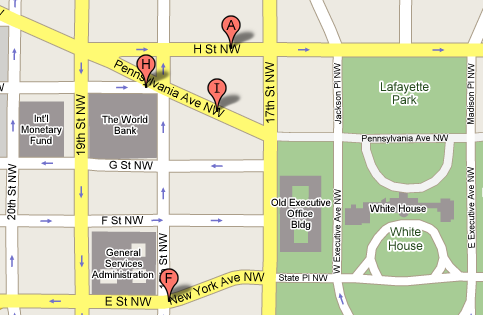 DC Map White House to 19th Street NW