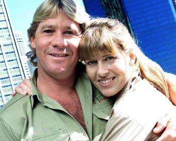 Steve and Terri Irwin Tragedy ... Steve Irwin - pictured here with his wife Terri - has died aged 44 in a horrific accident involving a stingray while filming an underwater documentary in Queensland / News Limited newspapers