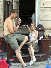 Katrina Breast Flasher Murdered Cooked Zackery Bowen and Addie Hall sit in front of their New Orleans home in Sept. 2005. The couple was involved in an apparent murder-suicide this month. (photo courtesy: Mobile Register)