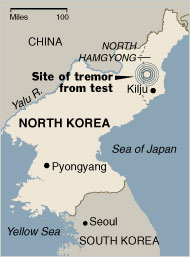North Korea Nuclear Test Map