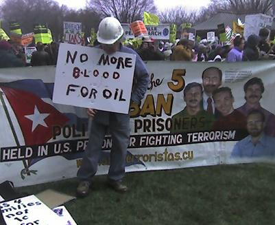 Cuban Five Sign at ANSWER Rally
