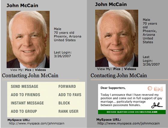 John McCain MySpace Page Hacked