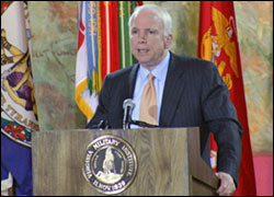John McCain VMI Iraq War Speech Photo