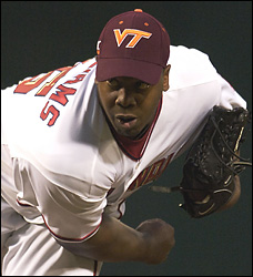 Washington Nationals Wear Virginia Tech Baseball Caps Photo Jerome Williams sports a Virginia Tech cap along with his teammates Tuesday but falls to 0-3 after allowing four runs and seven hits in five innings.