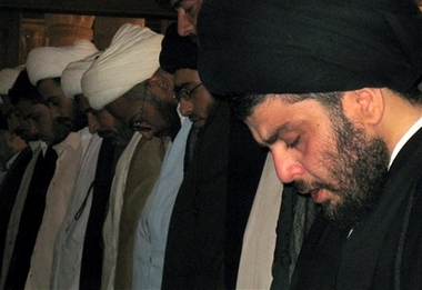 Muqtada al-Sadr Returns From Exile Photo Radical Shiite cleric Muqtada al-Sadr prays in the holy Shiite city of Kufa 160 kilometers (100 miles) south of Baghdad on Friday, May 25, 2007. Al-Sadr appeared in public for the first time in months on Friday, delivering a fiery anti-American sermon to thousands of followers and demanding U.S. troops leave Iraq. (AP Photo/Alaa al-Marjani)