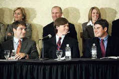 Duke Players All Smiles After Settlement From left, former Duke lacrosse players Dave Evans, Collin Finnerty and Reade Seligmann were all smiles during a news conference in April after the announcement that charges against them were being dropped.