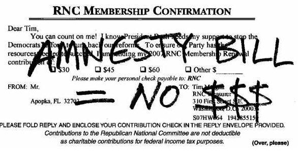 Malkin Amnesty Bill = No $$$ Postcard
