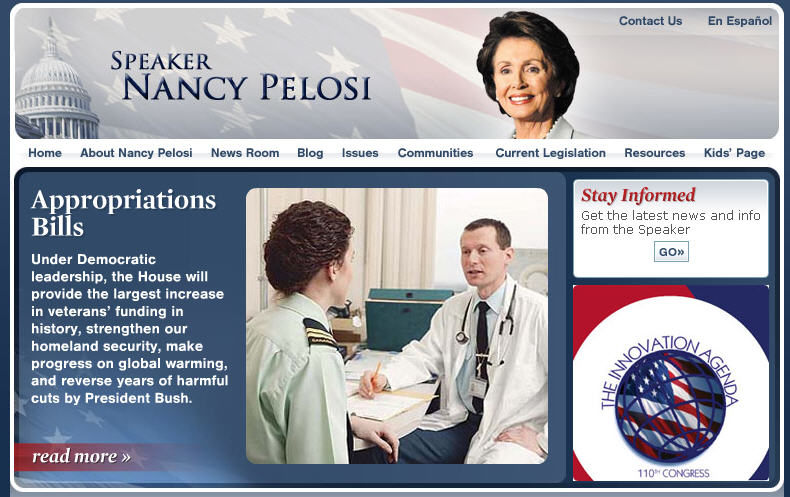 Nancy Pelosi Website Canadian Soldier Screencap