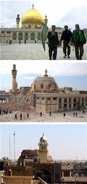 Samarra Shrine Photos - Before - After - After Again This combination of 3 images shows the stages of destruction of the Askariya Shrine in Samarra, Iraq. From top to bottom: a Feb. 2004 photo of the shrine, the shrine in Feb. 2006 following an explosion which destroyed its dome, and a Wednesday, June 13, 2007 view after insurgents blew up its two minarets. Saboteurs blew up the two minarets of a revered Shiite shrine in Samarra early Wednesday, in a repeat of the 2006 attack that shattered its famous golden dome and unleashed a wave of retaliatory sectarian violence that still bloodies Iraq. (AP Photos)
