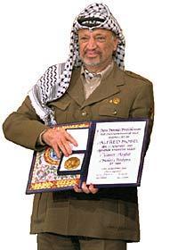 Yasir Arafat Nobel Prize Photo