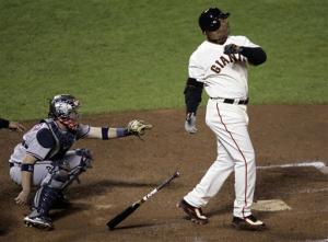 Barry Bonds 756th Home Run Photo San Francisco Giants Barry Bonds hits his 756th career home run in the fifth inning of their baseball game against the Washington Nationals in San Francisco, Tuesday, August 7, 2007.(AP Photo/Marcio Jose Sanchez)