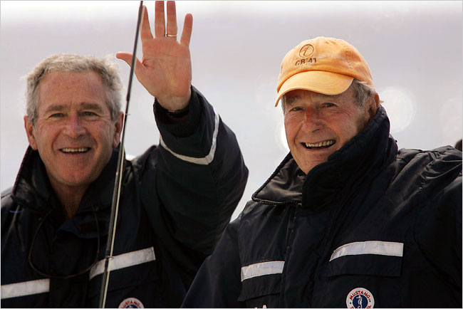 George W. Bush and George H.W. Bush Fishing Trip Photo Stephan Savoia/Associated Press The Bushes off the coast of Kennebunkport, Me., in June.