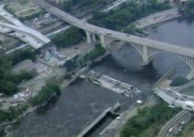 Minneapolis Highway Bridge Collapses Photo