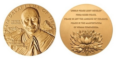 Dalai Lama Gold Medal Photo These images provided by the U.S. Mint shows the obverse (heads) and reverse (tails) sides of the Congressional Gold Medal that will be awarded to the Dalai Lama during a ceremony on Capitol Hill Wednesday, Oct. 17, 2007. The medal is designed and struck by the Mint individually to honor each specific recipient. (AP Photo/US Mint)