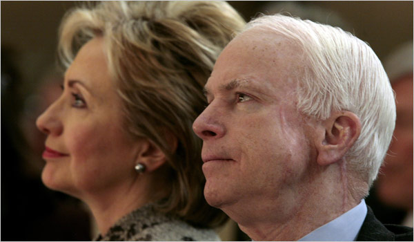 McCain Wants Respectful Fight with Clinton Photo Kevin Lamarque/Reuters Potential rivals, Hillary Rodham Clinton and John McCain, at a prayer breakfast in February.