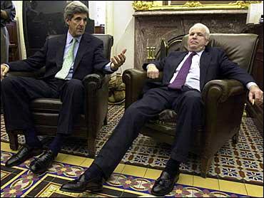 McCain the Kerry of 2008? Sen. John Kerry, D-Mass., left, and Sen. John McCain, R-Ariz., on Capitol Hill in March 13, 2002, file photo. (AP)