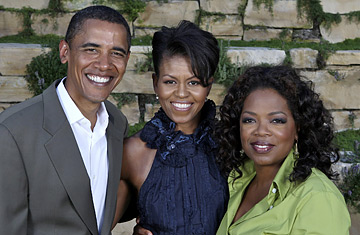 Barack Obama and the Oprah Factor (l. to r.): U.S. Senator Barack Obama, his wife Michelle Obama, and talk show host Oprah Winfrey. Harpo, Inc. / REUTERS