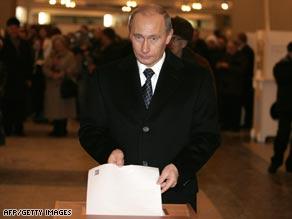 Putin Wins Big in Undemocratic Election President Vladimir Putin casts his ballot in Russia