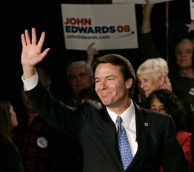 John Edwards Quitting Presidential Race Democratic presidential hopeful, former Sen. John Edwards, D-N.C., waves to supporters at a campaign rally Saturday, Jan. 26, 2008, in Columbia, S.C. Edwards came in third in the South Carolina Democratic primary. (AP Photo/Mary Ann Chastain)