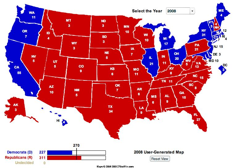 2008 Electoral College Maps McCain Best Case - VodkaPundit