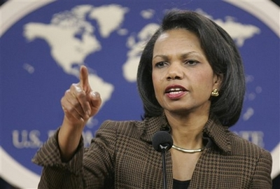 Rice Rules Out VP Run Secretary of State Condoleezza Rice calls on a reporter during a news conference at the State Department in Washington, Friday, Feb. 22, 2008 to discuss her recent trip to Africa. (AP Photos/Susan Walsh)