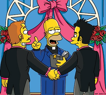 Homer Simpson performs gay marriage New York Judge Recognizes Gay Marriages From Canada
