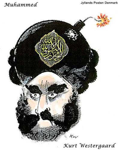 Danish Muslim Cartoon Kurt Westergaard  Muhammad with a bomb in his turban, with a lit fuse and the Islamic creed written on the bomb