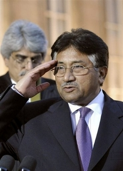 Bush Urges Pakistanis to Keep Musharraf Former Pakistani prime minister Nawaz Sharif told hundreds ofprotesters outside the deposed chief justice's house Thursday that President Pervez Musharraf's rule was