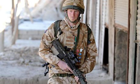 Drudge Breaks Media Silence on Prince's Mission Prince Harry on patrol through the deserted town of Garmisir close to FOB Delhi (forward operating base), where he was posted in Helmand province Southern Afghanistan. Photograph: John Stillwell/PA