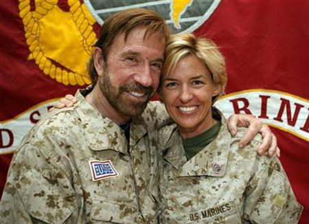 Chuck Norris Only WMD in Iraq Hollywood action star Chuck Norris (L) poses for a picture with Staff Sergeant Amy Forsythe during his visit to Camp Falluja, 50 km (30 miles) west of Baghdad in this November 2, 2006 file photo. Norris, known for his martial arts prowess and tough-guy image, has become a cult figure among the U.S. military in Iraq and an unlikely hero for some in Iraq