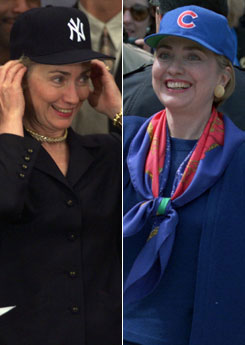 Hillary Clinton Baseball Caps Yankees Cubs