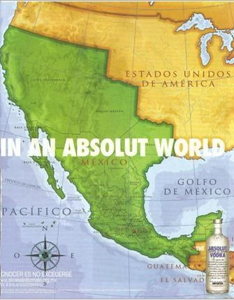 Absolut Vodka Redraws USA - Mexico Border
