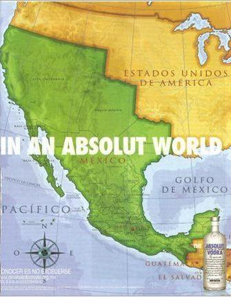 Absolut Vodka Redraws USA - Mexico Border