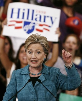 Clinton Wins Pennsylvania Photo Democratic presidential candidate Senator Hillary Clinton (D-NY) addresses supporters at her Pennsylvania primary election night rally in Philadelphia, Pennsylvania, April 22, 2008. (Jim Young/Reuters)