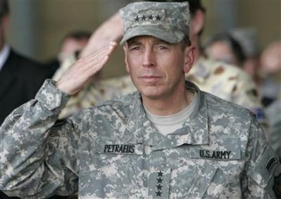 Petraeus to CENTCOM, Odierno to Iraq Chief U.S. military commander in Iraq General David Petraeus salutes during the 77th Iraqi Air Force day celebration in Baghdad's Muttana air base April 22, 2008. (Thaier al-Sudani/Reuters)