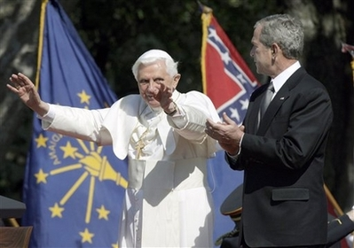 Pope Benedict White House Visit Photo Pope Benedict XVI waves to the crowd as President Bush applauds, Wednesday, April 16, 2008, during a South Lawn arrival ceremony at the White House in Washington. (AP Photo/Ron Edmonds)