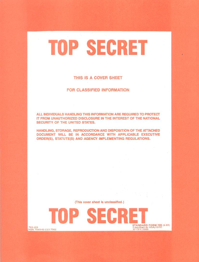 TOP SECRET cover sheet