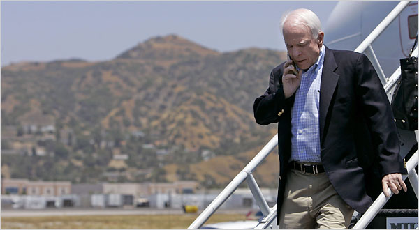 McCain Vice President Search Jeff Chiu/Associated Press Senator John McCain arriving in Burbank, Calif. on Wednesday.