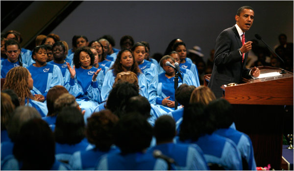 Barack Obama Father's Day Speech John Gress/Reuters Senator Barack Obama took part in Sunday services at the Apostolic Church of God on Chicago's South Side